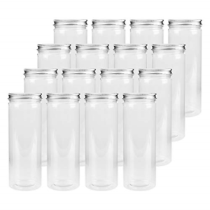 Tebery 16 Pack Plastic Spice Jars Bottles Containers with Lids 17oz Clear for &