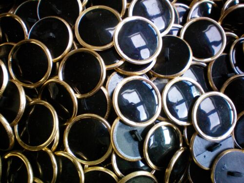 28mm 44L Black /& Gold Shank Dress Jacket Coat Blazer Craft Sewing Buttons W278