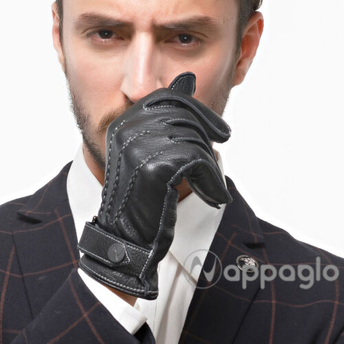 Nappaglo Men GENUINE Nappa Italian Lambskin Leather Gloves Fleece Lining Black
