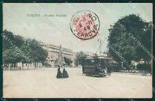 Torino Città Piazza Statuto Tram PIEGHINA cartolina VK1864