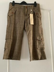 OUI-MOMENTS-Tweed-Tartan-Carreaux-Pantalon-raccourci-RRP-98
