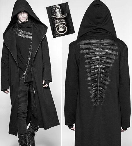 Manteau capuche zipé gothique punk destroy squelette tête de mort PunkRave homme