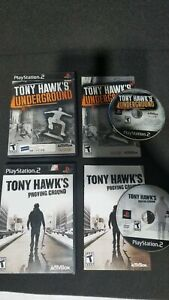 PS2-2x-Game-Lot-Tony-Hawk-039-s-Underground-amp-Proving-Ground-CIB-Tested