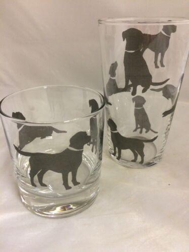 BLACK LABRADOR  DESIGNS ON HEAVEY BASE WHISKY /& 1pt TOUGHNED GLASSES