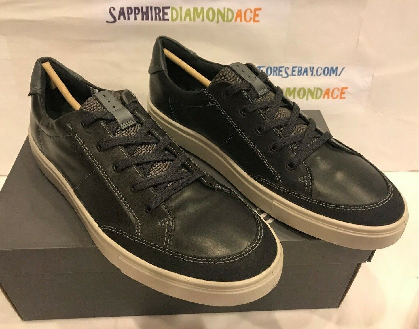 ECCO Men's Kyle Classic Nubuck Lace Up Sneakers shoes Size 12-12.5   46 NEW