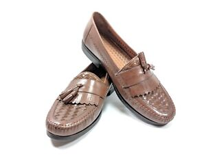 Hush-Puppies-Kiltie-Tassel-Loafers-Mens-Sz-11-5-M-Brown-Leather-Moc-Toe-sb16