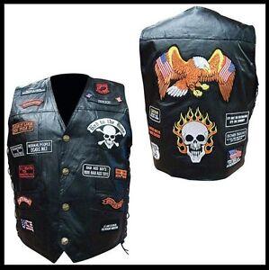 Gilet-en-Cuir-034-23-patch-Tete-de-Mort-M-L-XL-XXL-XXXL-Biker-custom-Harley