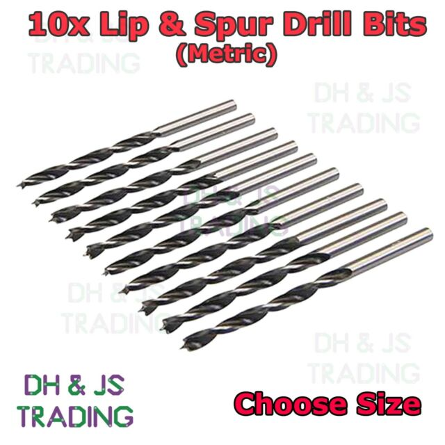 6mm For Wood 5mm 5 Piece Lip /& Spur Drill Bit Set 10mm 8mm 4mm
