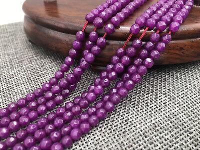 "Genuine 4mm Natural Smooth Lavender Jade Round Gemstone Loose Beads 15/""AAA"