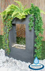 Milano Rain Outdoor Water Feature With Planter Lights Grey Self