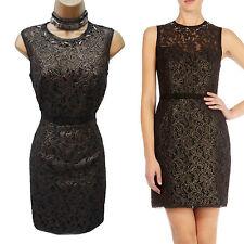 KAREN MILLEN Black Gold Lace Jewel Evening Cocktail Shift Wiggle Dress UK 10