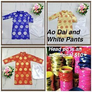 Nouveau Vietnamien Traditionnelle Chinoise Robe Pour Enfants Garçons Ao Dai Tre Em Tet Viet-afficher Le Titre D'origine