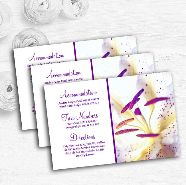 lila Beautiful Lily Flower Personalised Wedding Guest Information Cards