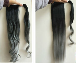 Straight Wavy Ombre Wrap Around Ponytail Clip In Hair