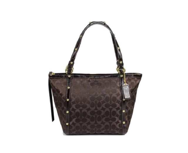45a3e95d2238 Coach Metallic Brown Signature C Pattern Gold Stud Tote Shoulder Bag  Stye18796e