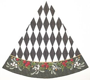 Needlepoint-Handpainted-Christmas-KELLY-CLARK-Tree-Black-White-HARLEQUIN-Holly