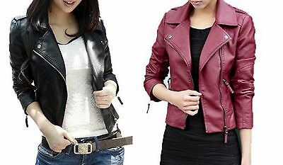 Ladies Fashion Black PU Faux Leather Cropped Biker Jacket Coat Zip 8 10 12 14 16
