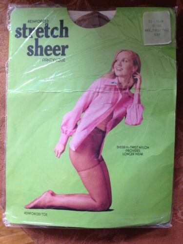 WOW! Vintage stretch Sheer nude beige pantyhose size tall w/ model