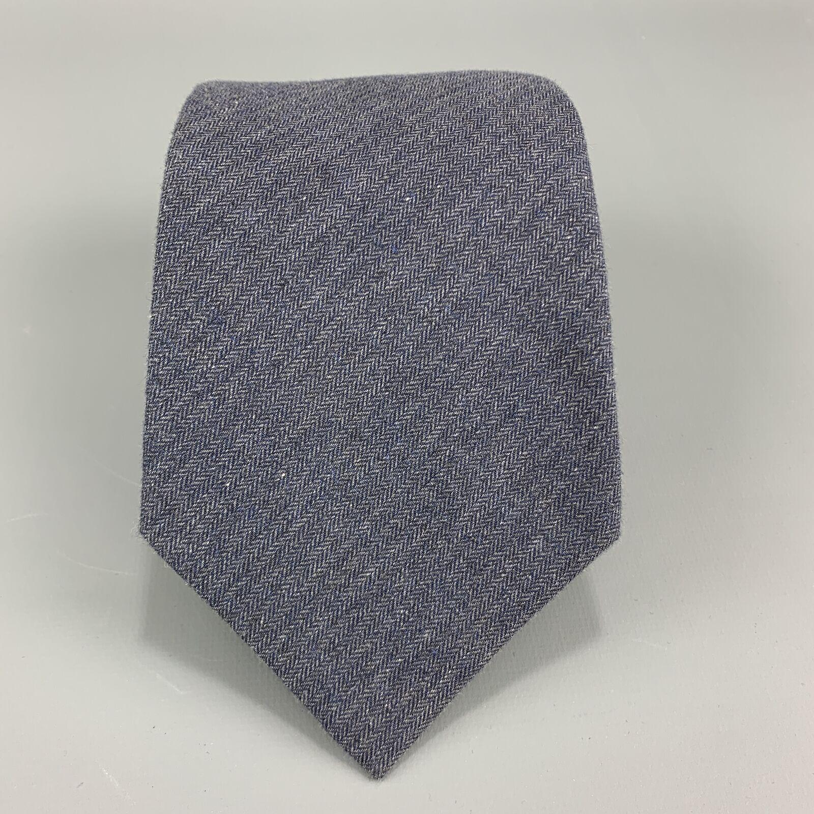 DIRK BIKKEMBERGS Marineblau Baumwolle Fischgrätenmuster Krawatte