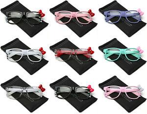 Hello-Kitty-Bow-Tie-Fashion-Womens-Girls-Clear-Lens-Non-Prescription-Eye-glasses