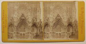 Reims-Portail-Da-La-Cattedrale-Francia-Foto-Stereo-Vintage-Albumina-c1870