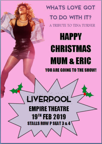 Tina Turner Tribute Ticket Concert Show Christmas Card A5 Personalised any words