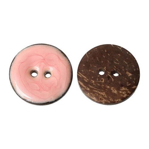 Großverkauf Kokos Knopf Knöpfe Buttons 2 Löcher Rosa Emaille 25mm