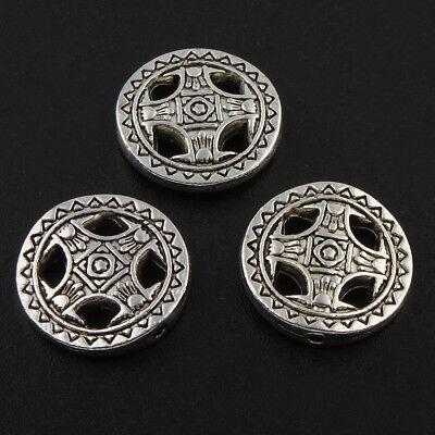 45 Metallperlen 14mm Tibet Silber Scheibe Zwischenteile Spacer Schmuck DIY F9#3