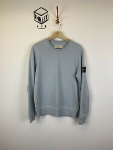 STONE-ISLAND-Mens-Size-S-Light-Blue-Arm-Logo-Crew-Neck-Sweatshirt-VGC