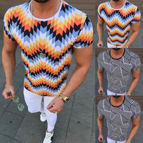 Mens Short Sleeve Floral T-Shirt Summer Casual Shirts Slim Fit Sports Tee Tops