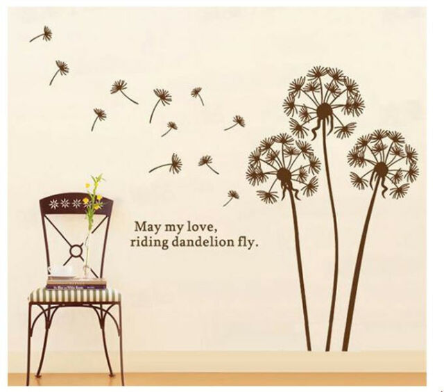Removable Brown Dandelion Flying Home DECAL Wall Sticker ART MURAL Decoration!