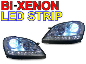 Details About Facelift Look Led Strip Bi Xenon Hid Headlights For 06 08 Mercedes W164 Ml Cl