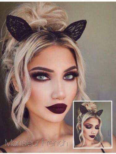 BLACK Lace BUNNY Rabbit KITTEN Cat EARS Hairband BRITISH COMPANY  .Y