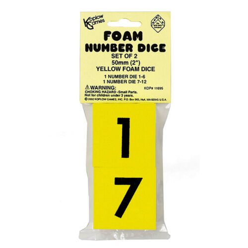 Foam Dice 2 Numeral Set Of 2 Koplow Games Inc
