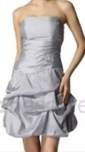 Robe Cocktail Chic Argentee Taille 38 Neuve Tres Belle Coupe Idee Cadeau Ebay