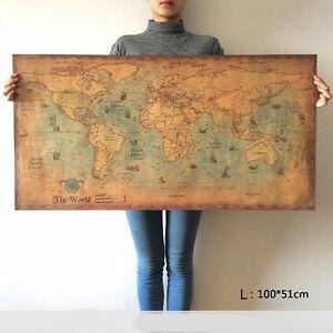 Navigation Monster World Map Vintage Poster Retro Home Bar Wall ...