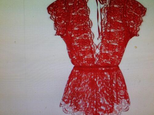Ann Summers Kir Rouge Dentelle Playsuit Taille S 8-10 neuf avec étiquettes