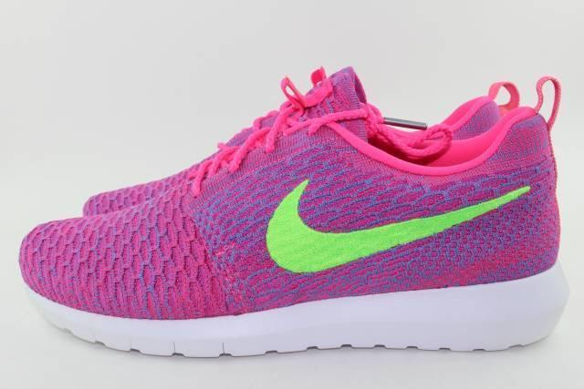 Nike correndo flyknit rosherun uomini dimensioni 9.5 rosa flash nuovo correndo Nike a suo agio rari 26675c