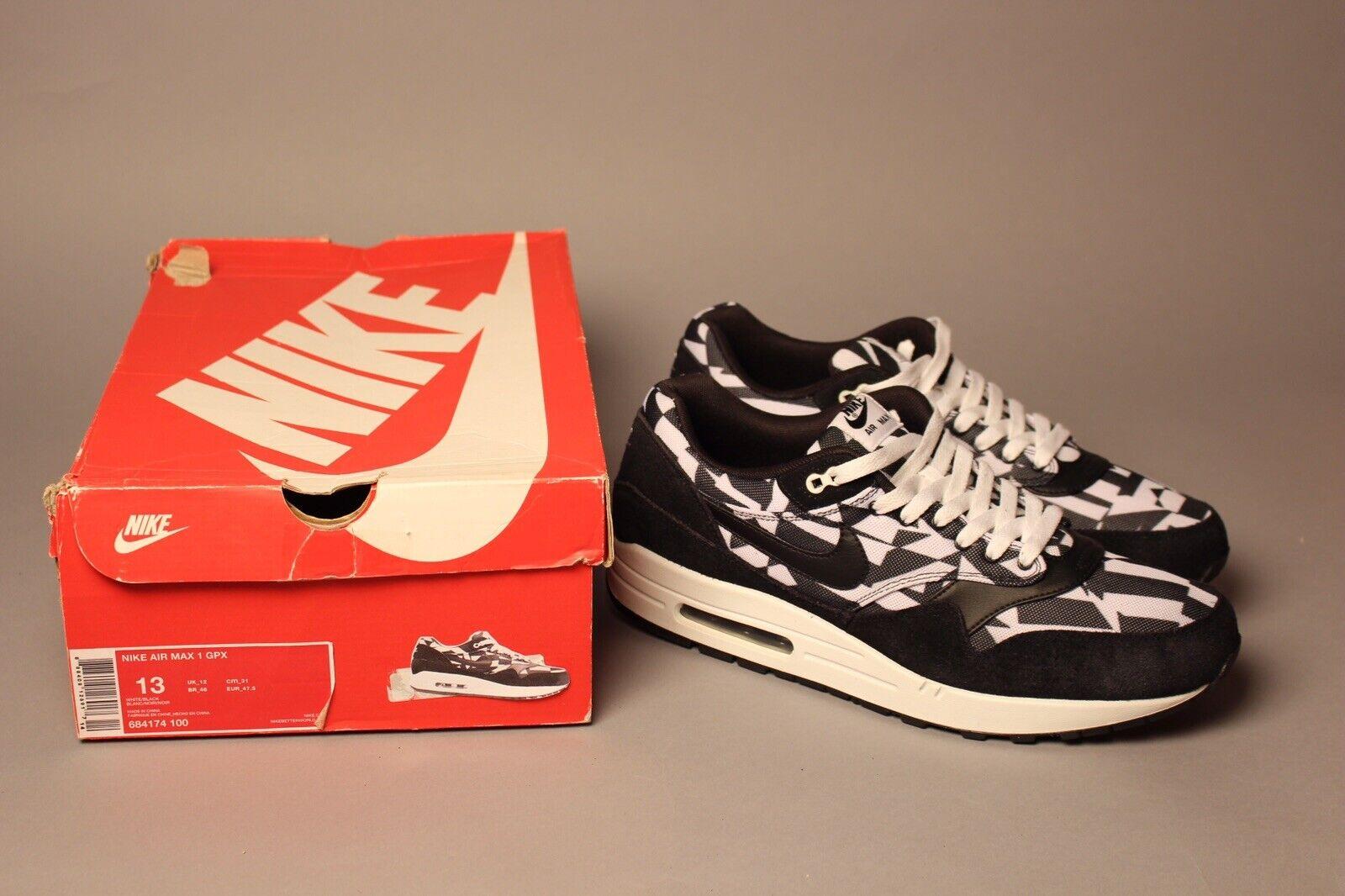 Nike Air Max 1 GPX Mens size 13 684174-100 Dazzle Black White