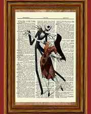 Jack Skellington Sally Dictionary Art Print Poster Nightmare before Christmas