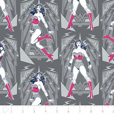 Warner Brothers Wonder Woman Poses in Iron Grey 100% cotton fabric by the yard