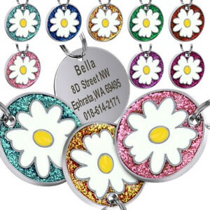 Flower-Dog-Tags-Engraved-Personalised-Pet-Puppy-Cat-Name-ID-Collar-Tag-8-Colours