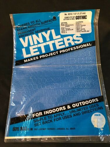 """Permanent Adhesive Vinyl Letters /& Numbers 1//2/"""" GOTHIC BLUE A051"""
