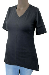 New-35-25-Value-Denim-amp-Co-X-Sm-Black-Perfect-Jersey-V-neck-Trapeze-Hem-Top