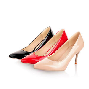 Ladies-Womens-Patent-Leather-Pointed-Toe-High-Heel-Pumps-Shoes-UK-Size-1-8-D198