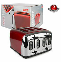 Prestige Auto ECO Traditional 4Slice Wide Slot Stainless Steel 1800W Toaster Red
