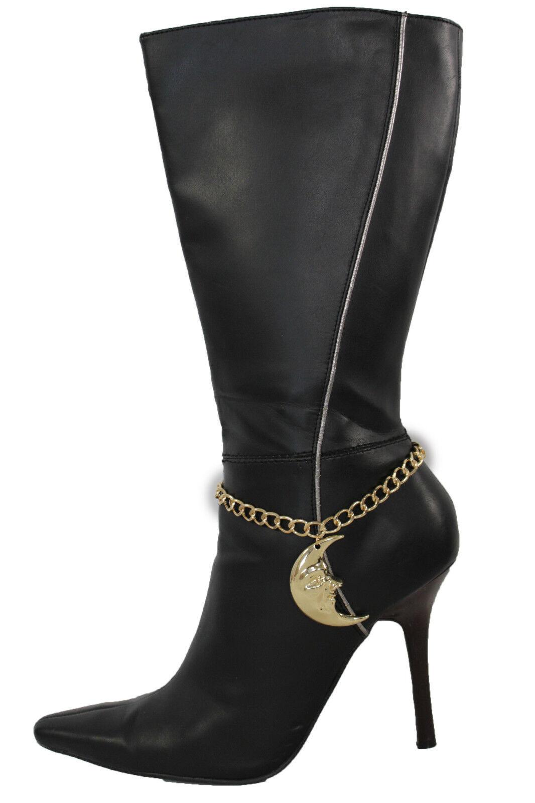Fun Women Gold Metal Chain Boot Bracelet Shoe Shinny Moon Charm Jewelry Showgirl