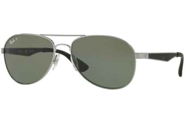 1f3e3a5040 RAY-BAN AVIATOR GUNMETAL BLACK POLARIZED CLASSIC GREEN SUNGLASSES RB3549  004 9A