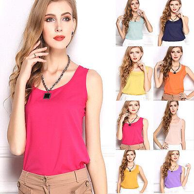 Fashion Ladies Summer Loose Casual Chiffon Vest Sleeveless T-shirt Top Blouse