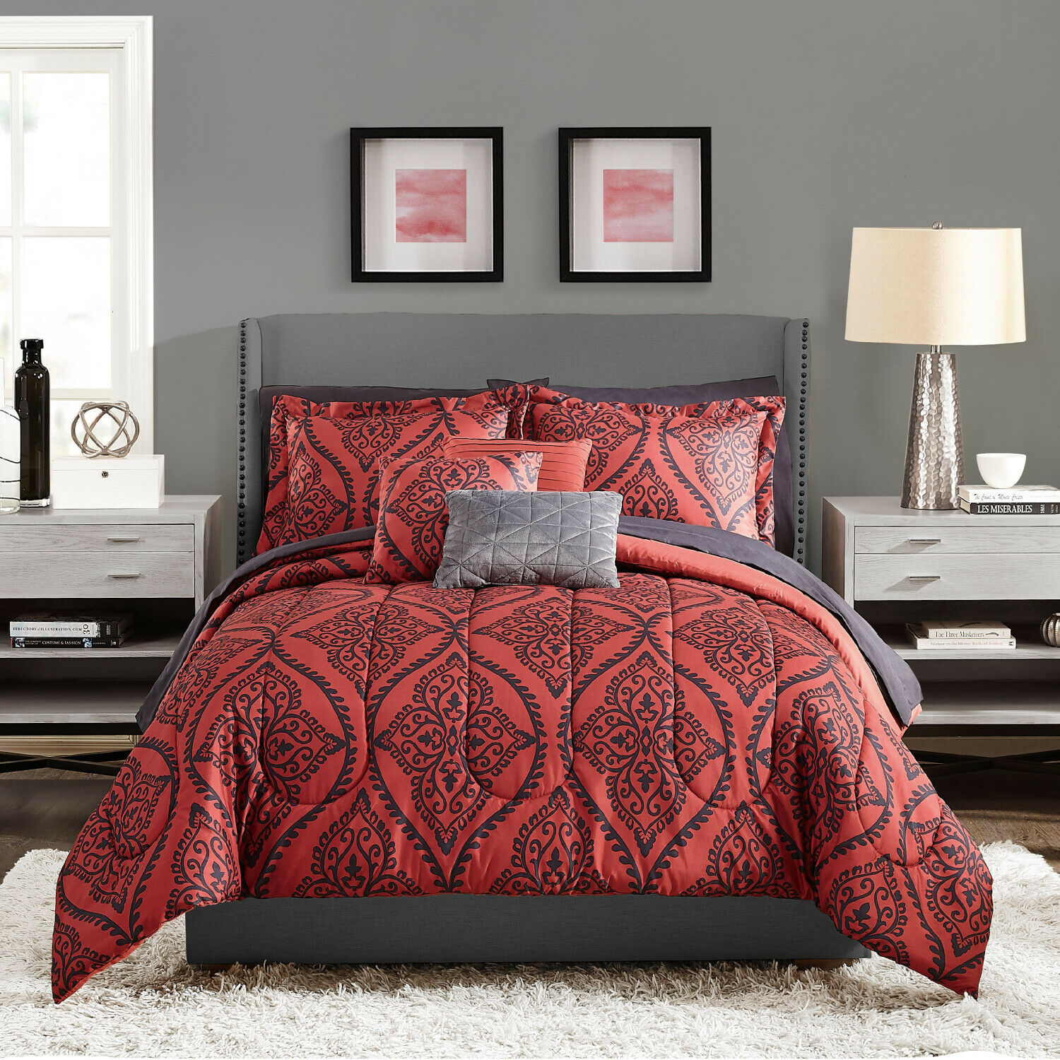 Bedding Set Queen Red And Black Damask 10 Piece Comforter 2 Shams Pillowcases For Sale Online
